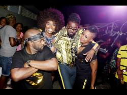 Soca artistes Bunji Garlin (left) and Fay-Ann Lyons (right) lyme with 'Love and Hip Hop: Miami' star Amara La Negra and dancehall great Beenie Man at the One World Rebellion band launch.