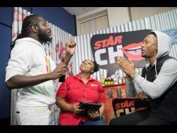 Producer Cordell 'Skatta' Burrell (left) and gospel singer Chozenn debate whether God exists while host of STAR CHAT Davina Henry moderates.