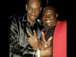 Dancehall entertainer Bounty Killer (left) shares  a frame with producer and  label owner  Q45.