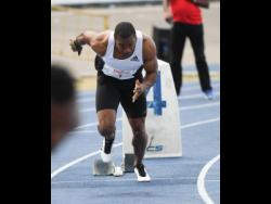 Yohan Blake explodes out of the blocks while competing in the mens 400m at the Camperdown Classics held at the National Stadium on Saturday, February 8, 2020. He finished third in his heat with a time of 48.24 seconds.