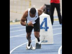 Yohan Blake competes in the men's 400m dash at the Camperdown Classics on Saturday, February 8,2020.
