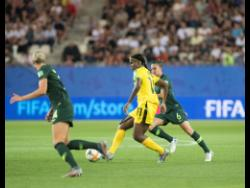 File Khadija Shaw (centre) makes a pass during a FIFA Women's World Cup against Australia on June 18, 2019.