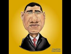 Walker's drawing of Prime Minister Andrew Holness.