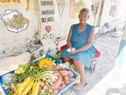 Essorine Thompson at her roadside stall.