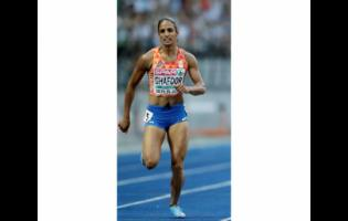 FILE - In this file photo dated Thursday, Aug. 9, 2018, Netherlands' Madiea Ghafoor competes during a woman's 400 meter semi-final race at the European Athletics Championships in Berlin, Germany.  Ghafoor is in a German jail awaiting trial on drug trafficking charges.