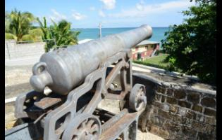 One of the three cannons that remain at the Morant Bay Fort, located behind the courthouse.