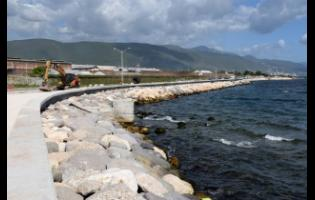 A section of the newly built seawall in downtown Kingston.