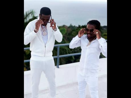 International star Safaree and reggae-dancehall entertainer Jahmiel on the set of 'No Regular Girl'.
