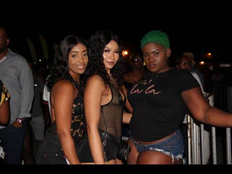 (from left) Sharia McKenzie, Joelene Clifford and Shernette Kangol draw close for a photo.