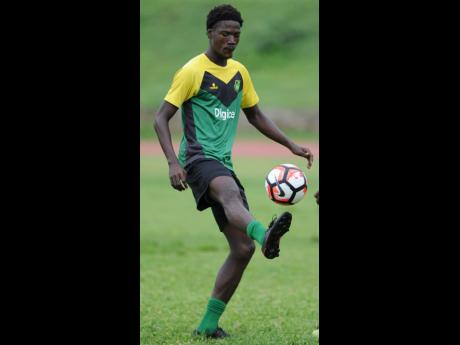 Shamar Nicholson trains with the Reggae Boyz at the Stadium East field on May 16, 2017.