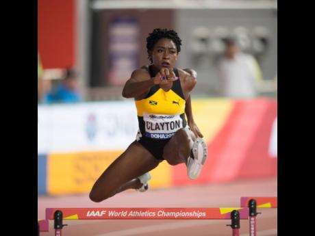 Rushell Clayton competes in the final of the women's 400m hurdles final at the recently concluded Doha World Championships.