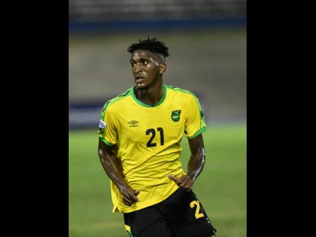 Jamaica's Damion Lowe in action against The Cayman Islands at the National Stadium on September 9, 2018.