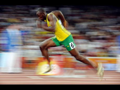 Usain Bolt starts a men's 200-metre  semi-final  at the Beijing 2008 Olympics in China on Tuesday, August 19, 2008.