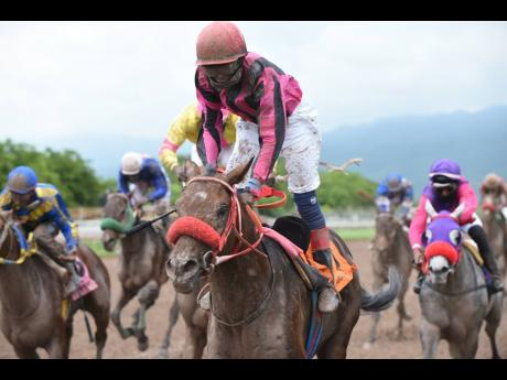 Female apprentice Samantha Fletcher riding SEBASTIAN to victory at Caymanas Park on the Heroes Day racecard in 2019.