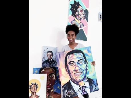 Shana-Gail Young shows off some of her pieces titled 'Andrew Holness: Man of the People'.