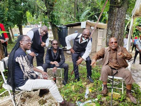 From left, Arthur Wale, Admiral Bailey, Bounty Killer, Richie Stephens and Josey Wales at  the funeral.